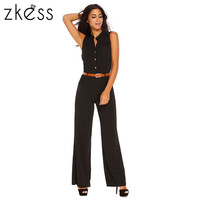 ZKESS Jumpsuit Romper Summer Sexy Women Sleeveless Trousers Long Pants Overall macacao feminino Lady Jumpsuit with Belt LC60932