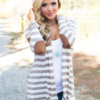 Once In a Lifetime Striped Cardigan Taupe Ivory