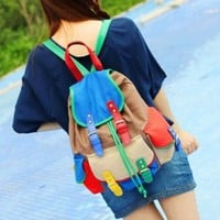 Contrast Color Colorful Canvas Backpack From Pomelo