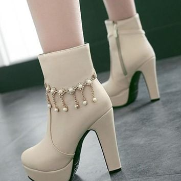 New Beige Round Toe Chunky Pearl Fashion Ankle Boots