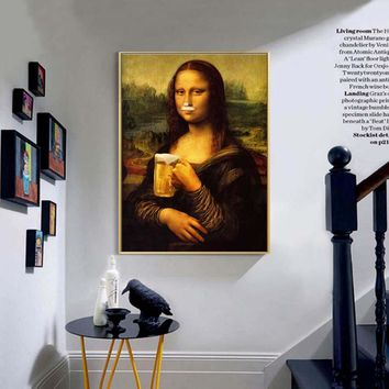 Abstract Canvas Painting Mona Lisa beer Nordic Wall Art Poster Prints Decoration Pictures Living Room unframed Decorative