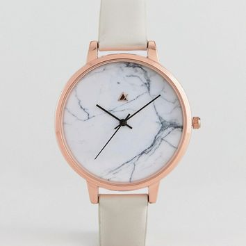 ASOS DESIGN Curve Tonal Gray Marble Leather Watch at asos.com