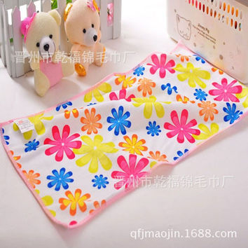 Free shipping Superfine fiber Brushed Printing Soft 25 * 50cm 4 Colors Rectangle Children Towel Baby Towel
