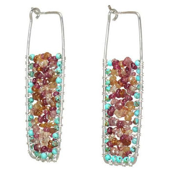 Turquoise and Ruby Rose Gold Earrings