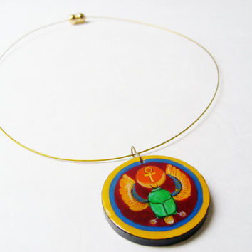 Egyptian Beetle Necklace Amulet  - Hand Painted Jewelry - Ancient Egypt Beetles Pendant Wearable Art Egyptian Scarab