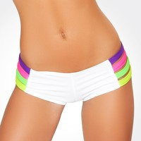 White Rainbow Strappy Hot Pants : Stretch Boy Shorts from J. Valentine