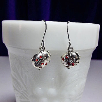Swarovski Ladybug Crystal Earrings, Valentines Mothers Day Gift, LIMITED, Mom Sister Grandmother Girlfriend Jewelry