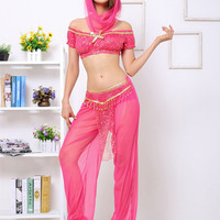 Pink Cropped Top Mesh Genie Costume