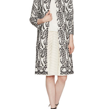 Embroidered Paisley Collared Coat