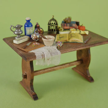 Witches Potion Table for Making Spells - 1:12 or 1/12 scale Dollhouse Miniature - Rustic Kitchen Cottage Table for Witch or Wizard Scene