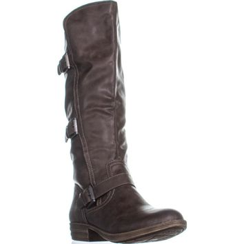 AR35 Jeffrey Mid Calf Riding Boots, Brown, 10.5 US