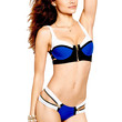 Color Block Royal Blue Bikini with Zip Decor