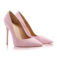 Shoes: 'PARIS' Suede Pink Patent Leather Pointy Toe Heels 5""