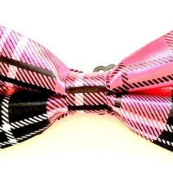 Mod Provisions Black, White & Pink Men's & Boys Pre-Tied Adjustable Bow-Tie