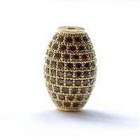 Gold Barrel Beads Oval Spacer Encrusted With Cubic Zirconia Rhinestone Set of 1 A8142