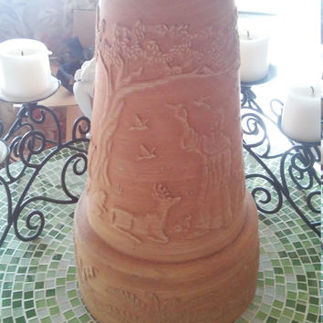 "Clay Cone Shaped Vine Pot ""Vintage"" For Flower Garden"