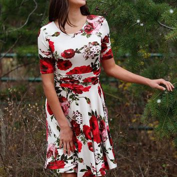 Red Floral Ornament Fit and Flare Dress