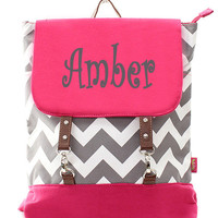Personalized Pink and Gray Chevron Back pack/diaper bag/bag