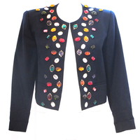Vintage 1980'S Blue Box Jacket By Barioni Of France