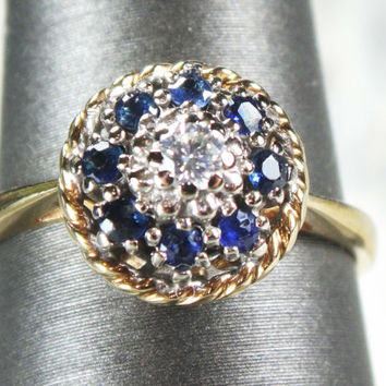 Vintage 14k Genuine Blue Sapphire Diamond Ring Genuine Sapphire Ring 14k Yellow Gold Sapphire Diamond Ring September Alternative Engagement