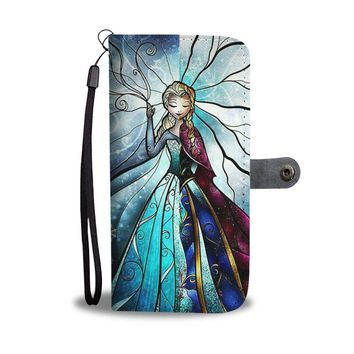KUYOU Disney Princess Elsa And Anna Frozen Wallet Phone Case