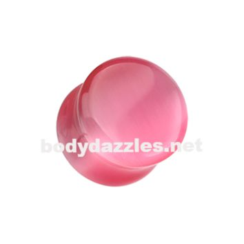 Pair of Pink Cats Eye Marble Stone Double Flared Ear Gauge Plug Body Jewelry