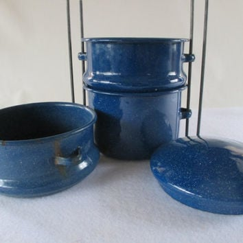 Food Carrier, Blue Granite ware, Vintage , Used, Metal Lunch Bucket, Tiffin Picnic Carrier, Three Tiered Storage, Take Out Container
