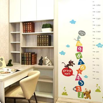 Kids Cat Mouse Dog Cheer Up Cartoon Height Wall Sticker