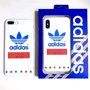 Adidas New fashion star letter leaf print couple protective case phone case White