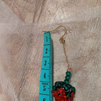 Strawberry Crystal Beaded Earrings