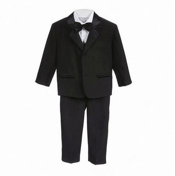 High Quality Baby boy tuxedo suit for wedding child blazer clothing set 5pcs:coat+vest+shirt+tie+pants boy formal dress 1-3year