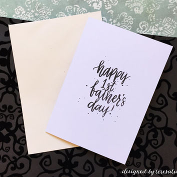 Happy 1st Father's Day Card Typography Handwritten Brush Lettering Minimalist Seasonal Card