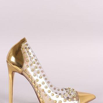 Liliana Metallic Patent Studded Spike Pointy Toe Pump