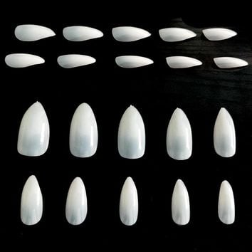 100PCS Almond Fake Nails Tips Artificial Stiletto Nails Oval Nail Tips Natural Almond Nails Full Cover Unas Postizas JZJ013