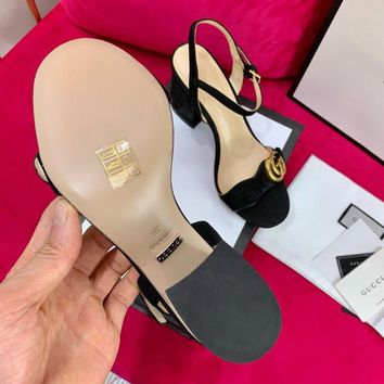 Ready Stock Gucci Black Suede Mid Heel 75mm Double G Sandal