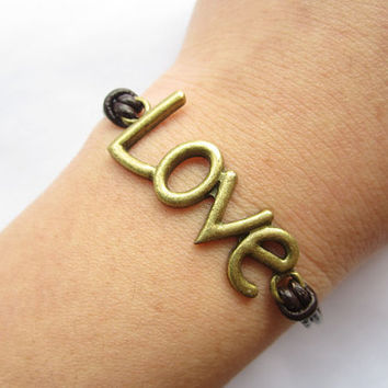 Lover Bracelet---antique bronze love letters & alloy chain