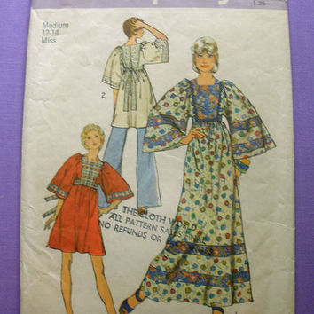 Caftan Vintage 1970's Simplicity 5976 Misses' Size 12-14 Sewing Pattern