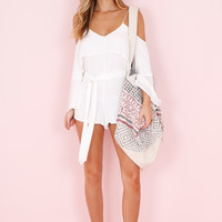 HONEY PUNCH | Cold Shoulder Layered Romper - White