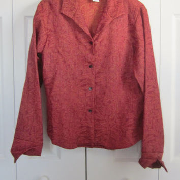 Vintage Long Sleeve Rust Blouse  Coldwater Creek Textured Shimmer Iridescent Sparkly Blouse Jacket Made in USA Womens M Medium Top
