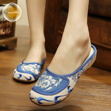 Fashion new casual Chinese style embroidery slipper Old Peking national cloth shoes women's temperament elegant sandals