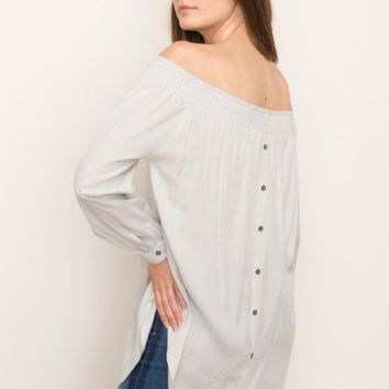 Women's Off-the Shoulder Smocked Neckline Blouse with Back Button Detail