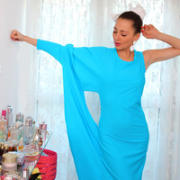 Handmade Blue Long Batsleeve Elastic Tricot Lycra Fitted Evening Party Cockatil Dress