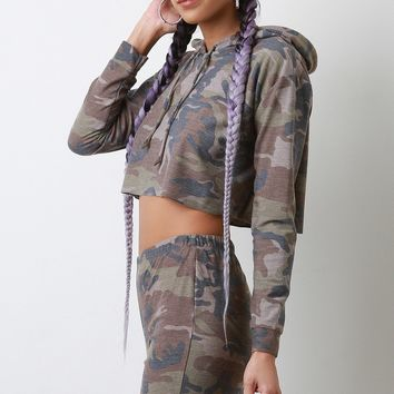 French Terry Camouflage Cropped Hoodie with Shorts Set