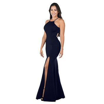 Navy Blue Halter Long Formal Dress Cut-Out Back with Slit