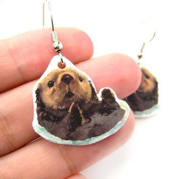 Sea Otter Beaver Watercolor Animal Dangle Earrings | Handmade Shrink Plastic