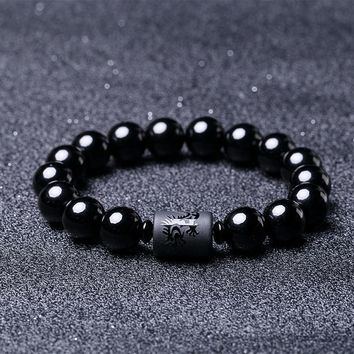 2018 Dragon with Phoenix Charm Couple Style Zodiac Bracelet Obsidian Buddha Beads Bracelet for Men Women Luxury Jewelry Gifts
