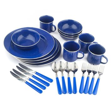 Enamel Camping Tableware Set 24 Piece Plates Bowls Fork Knife Spoon Mugs Blue