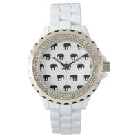 Elephants - Black And White Wrist Watch