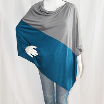Colorblock  Poncho/ Nursing Poncho / Nursing Shawl / Breastfeeding Cover / Maternity Top / One shoulder Top / Boho Poncho/ New Mom Gift