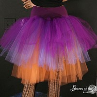 Three Layer Petticoat tutu skirt witch gypsy purple orange Adult -- You Choose Size -- Sisters of the Moon